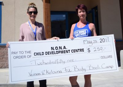 Vernon and Kelowna Fit Body Boot Camp donation to NONA Child Development Centre